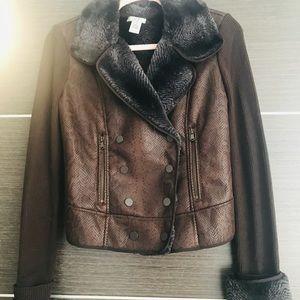 Cachè Acrylic Wool Blend Fur Jacket Brown